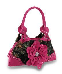 Forest Camouflage Carpet Bag Purse Studded / Rhinestone Flower