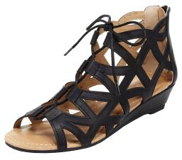 Esprit Women's Cacey Geometric Caged Laser Cutout Lace Up Open Toe Wedge Ankl...