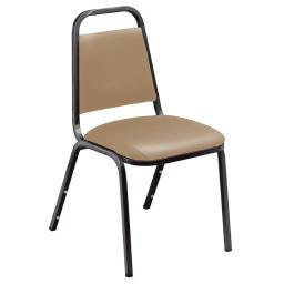 National Public Seating 9101-B Beige Vinyl with Black Frame Padded Stack Chair