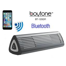 Boytone BT-120GR Portable Wireless Bluetooth Speaker, Built-in Microphone, 2 Stereo Speaker, Rechargeable Battery. Aluminum Casing. Works with iPhone, iPad, Samsung, Tablets and Other Smart Phones