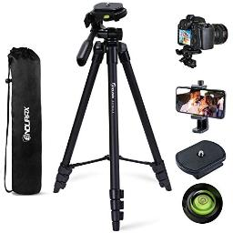 Endurax 60 Camera Phone Tripod Stand Compatible With Canon Nikon Dslr With Universal Phone Adapter, Bubble Level And Carry Bag