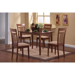 Classy 5 Piece Wooden Dining Table Set, Brown