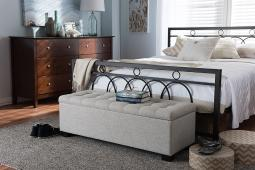Baxton Studio Roanoke Modern and Contemporary Beige Fabric Upholstered Grid-Tufting Storage Ottoman Bench