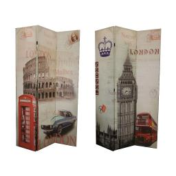 Vintage Style 3 Panel Room Divider with LONDON Theme Print, Multicolor