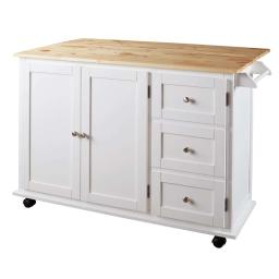 Wooden Kitchen Cart with 3 Doors and 2 Adjustable Shelves, White and Brown