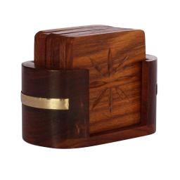 Hand Carved Stylish Pack Of 6 Coasters And Holder In Mango Wood Benzara Brand