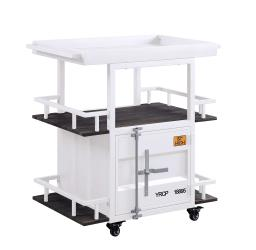 Industrial Style Metal Serving Cart with Casters, White