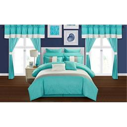Chic Home Rory 24 Piece Comforter Set Color Block Quilted Embroidered Complete Bed in a Bag Bedding – Sheets Bed Skirt Decorative Pillows Shams Window Treatments Curtains Included, Queen Turquoise