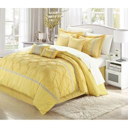 Vermont Yellow & Grey King 8 Piece Embroidered Comforter Bed In A Bag Set