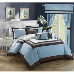 Chic Home Ritz 20 Piece Comforter Set Color Block Bed in a Bag with Sheets Curtains, Queen, Blue