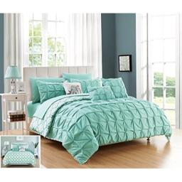Chic Home 10 Piece Yael Pleated Pintuck and Aztec Inspired Printed Reversible with Elephant Embroidered Pillow King Bed in a Bag Comforter Set Aqua