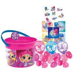 Shimmer and Shine Toddler Sized Easter Egg Loot Bucket & 12 Pink Toy-Filled Easter Eggs! Plus Egg Hunting Easter Button!