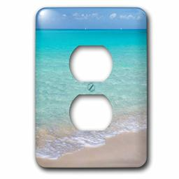 3D Rose LSP_226509_6 Bahamas, Little Exuma Island. Ocean surf and Beach. 2 Plug Outlet Cover