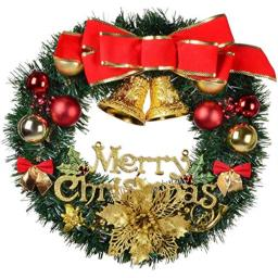 YOYOBEAR Merry Christmas Wreath 24 Inch Christmas Decorations Front Door Wreath Ornament Wall Artificial Pine Garland for Christmas Party D�cor with Bowknot Bells Red Berries Flower Gifts