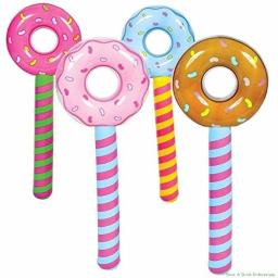 Unbranded (4) Assorted Donut Stick Inflatable - Pool Party Blow Up Float Decoration Favors
