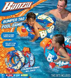 Banzai Bumper Tag Pool Game ( Two Sets Included Bump Splash Grab Spring Summer Inflatable Air Water Float Boat Rings Tag Bomb Backyard Fun Toy)