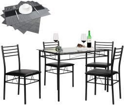 Dining Table with 4 Chairs [4 Placemats Included, Black