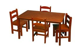 Gift Mark Childern's Rectangle Square Table with 4 Chairs - Honey