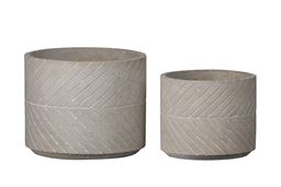 Urban Trends Collection UTC59807 Cement Round Pot with Intersecting Diagonal Line Pattern Design Body, Natural Finish Gray - Set of 2
