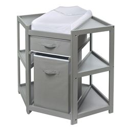 Badger Basket Co Diaper Corner Baby Changing Table with Hamper and Basket - Gray
