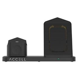 Accell Power 3-in-1 Fast-Wireless Charger - 3 in 1 Wireless Charger for Smartphone Apple Watch and Airpods - Qi-Compatible Black