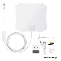 ANTOP Amplified Digital TV Antenna Indoor 3045 Mile Long Range with Built-in Smart Switch Amplifier and 10ft Coaxial Cable AT-132B