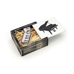 Antique Maple 16GB USB Flash Drive - Stained in Wedding White - Grand Piano with Matching Keys Design - Packaged in Nightshade Black Box with Raffia Grass