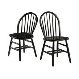 Winsome Windsor 2 Piece Set Solid Wood Chair RTA - Black