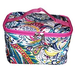 High Fashion Print Small Cosmetic Bag Can be Personalized (Blue Paisley - Personalized)