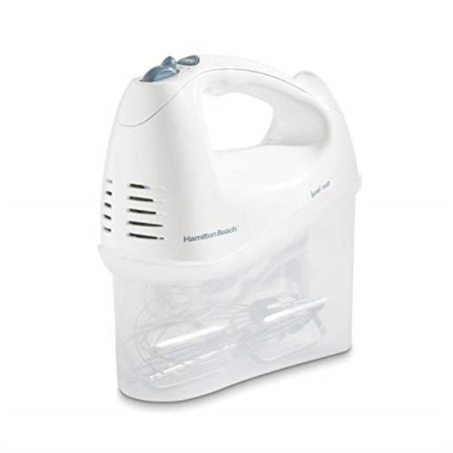 Hamilton Beach 6-Speed Electric Hand Mixer with Snap-On Storage Case, Wire Beaters, Whisk and Bowl Rest, 250W, White (62682RZ) MIX WITH EASE: With 6 speeds, including the Quick Burst button, you can adjust this kitchen mixer to accommodate any recipe*EASY TO HANDLE: With 250 watts of peak power hand mixer*BOWL REST FEATURE: A built in groove lets you rest the hand mixer over the bowl, so drips go where they belong and not all over your countertop*VERSATILE ATTACHMENTS: The kitchen mixer includes easy to clean set of traditional beaters and whisk*SNAP ON STORAGE CASE: This hand mixer includes a handy snap on storage case no more lost beaters