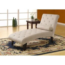 Offex OFX-283918-MO Taupe Velvet Fabric Chaise Lounger