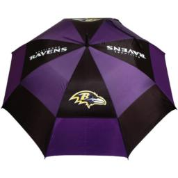 """Team Golf NFL 62"""" Golf Umbrella with Protective Sheath, Double Canopy Wind Protection Design, Auto Open Button, Baltimore Ravens"""