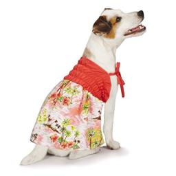 "Casual Canine Hawaiian Breeze Sundress for Dogs, 8"" XXS, Coral"