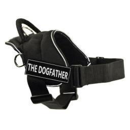 DT Fun Harness, The Dogfather, Black with Reflective Trim, X-Large - Fits Girth Size: 34-Inch to 47-Inch