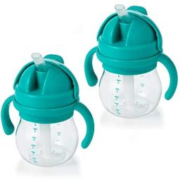 OXO TOT Transitions Straw Cup with Removable Handles, Teal, 6 Ounce (2 Pack)