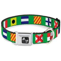 Dog Collar Seatbelt Buckle Nautical Flags Green Multi Color 18 to 32 Inches 1.5 Inch Wide