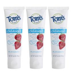 Tom's of Maine Natural Fluoride Free Children's Toothpaste, Silly Strawberry, 4.2 Ounce, 3 Count