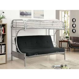 Twin Over Twin Metal Bunk Bed with Side Ladder And C Style Side Rail, Silver