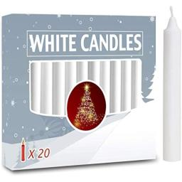 20pcs Candles for Christmas Tree - Angel Chime Decorations - Christmas Pyramids Carousel - 4 inch X 1/2 inch Diameter - 15 Hour Burn Time Unscented -White
