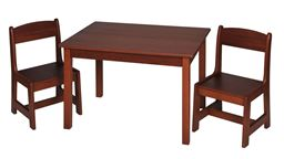 Gift Mark Children's Rectangle Table with 2 Chair Set - Cherry