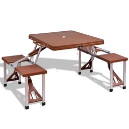 Outdoor Foldable Aluminum Picnic Table with Bench Seats