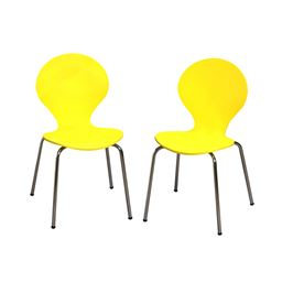 Gift Mark Modern Childrens 2 Chair Set with Chrome Legs - Yellow Color