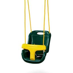 Gorilla Playsets 04-0032-G High Back Plastic Infant Swing with Yellow T Bar & Rope, Green