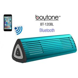 Boytone BT-120BL Portable Wireless Bluetooth Speaker, Built-in Microphone, 2 Stereo Speaker, Rechargeable Battery. Aluminum Casing. Works with iPhone, iPad, Samsung, Tablets and Other Smart Phones