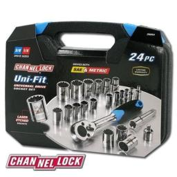 Channellock 38054 Uni-fit 24 Piece Socket Set Drives Sae; Metric And More