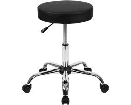 Offex Black Backless Medical Doctor Stool with Antimicrobial/Antibacterial Vinyl, Molded Foam Seat and Chrome Base