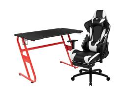 Offex Red Gaming Desk and Black Footrest Reclining Gaming Chair Set with Cup Holder and Headphone Hook