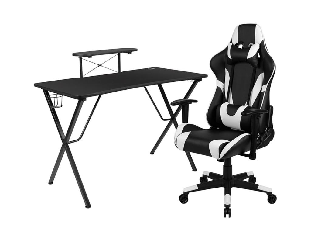 Offex Black Gaming Desk and Black Reclining Gaming Chair Set with Cup Holder, Headphone Hook, and Monitor/Smartphone Stand