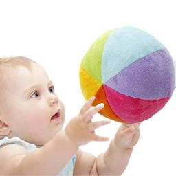 SHILOH Soft Plush Stuffed Rainbow Ball with Gentle Rattle - First Ball for Baby