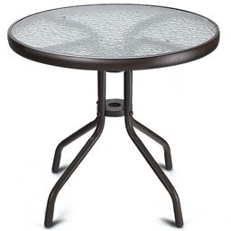 24 Steel Frame Round Table with Tempered Glass""